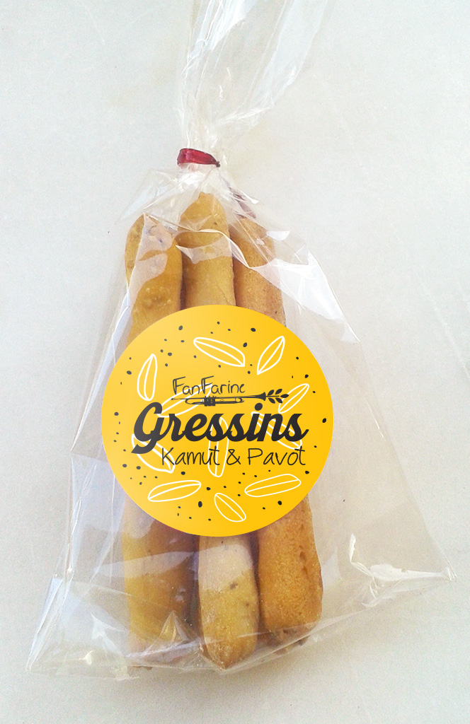 Packaging gressins Kamut & Pavot
